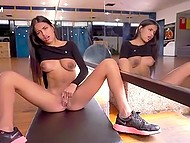 Young Colombian girl Denisse Gomez dances in front of the mirror and masturbates pussy sitting on the floor