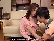 Excited Japanese boy brazenly caresses amazing boobs of his attractive stepsister 7