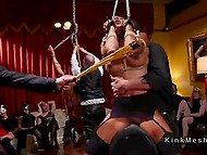 Tied with ropes girls are pretty fragile and petite so men feel like BDSM-giants fucking them publicly 8