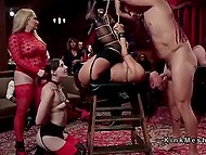 Tied with ropes girls are pretty fragile and petite so men feel like BDSM-giants fucking them publicly 9