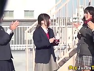 Innocent Japanese schoolgirls use lunch break to come outdoors and pee all over bench 11