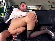 Man says brunette in stockings to enjoy cocksucking then he and his friend fuck bitch's ass 6