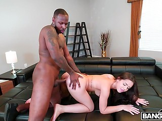 Huge Ebony stud shoves meatstick deep into pussy of young Latina girl Alina Lopez