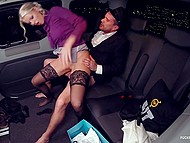 Driver and blonde girl in stockings turn on so much knowing that somebody can see them having sex in the back seat 4