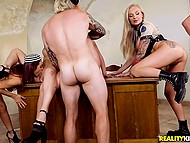 Female convicts are so rebellious that prison warden lets them out for hot group fuck 9