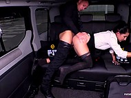 Chick in black pantyhose got in car to rest with handsome driver and do it in backseat