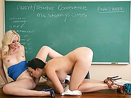 Lesbian teacher Charlotte Stokely seduces stepmom of one of the studs and receives cunnilingus