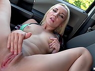 Blonde lovely teases smooth pussy in the front seat and driver with camera fucks her 9