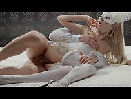 Slim blonde in white lingerie Katrin Tequila and masked lover unhurriedly copulate in bed