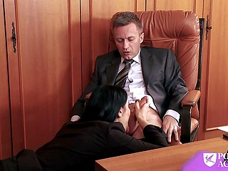 Director called teacher but brunette suddenly started touching him and giving blowjob