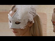 After careful preparation, blonde Alecia Fox is ready for sensual sex with masked partner 4