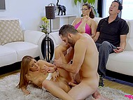 Naughty stepsiblings have sex not afraid to be caught by parents who are both hypnotized