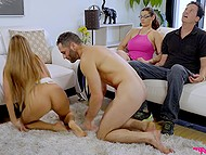 Naughty stepsiblings have sex not afraid to be caught by parents who are both hypnotized 7