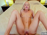 After cock riding and fucking from behind, delectable blonde lies on the back and sex continues