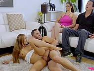 Young woman is very horny so man must stop the time and fondle pussy with erect cock in front of caretakers