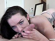 Dark-haired whore pulls stepdad's cock out of pants and rides it after gives blowjob 6