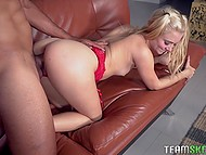 Master punishes blonde babysitter Riley Star whom he caught wearing wife's red lingerie
