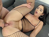 Bald bruiser roughly assfucks attractive slut in fishnet outfit Loren Minardi to her limit