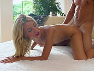 New day begins for tanned blonde Katrin Tequila and her lover with sensual sex 9