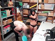 Carnal Arab female Ella Knox with chubby legs savors touches of guard and his dick in pussy 11
