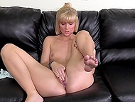 Small-tittied blonde rides agent's cock and man can't resist filling her pussy with sperm 9