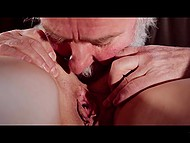 Gray-haired gentleman actively licks young pussy and ass before banging girl like in old times