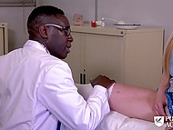 Female with white hair helps black and white doctors get rid of blue balls with mouth 8