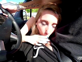 Man filmed babe masturbating and then she moved to the front seat and started sucking driver