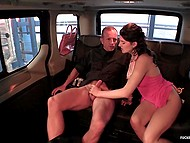 Attractive girl from Italy hangs up the phone and she has time to enjoy sex with driver 10