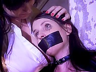 Natural slut takes love home to tie her up to a pole and make chick cum with the help of vibrator 5