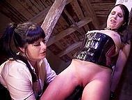Natural slut takes love home to tie her up to a pole and make chick cum with the help of vibrator 8