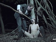 Boy dislikes ordinary sex so catching a sleeping whore in the forest he uses a long dildo to fuck her 9