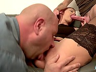 Girl talks to men and slowly conversation turns into dirty and lustful group oral fucking 10