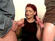 Girl talks to men and slowly conversation turns into dirty and lustful group oral fucking 8