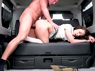 Czech girl asks personal driver to make a stop because she can't overcome desire to be fucked