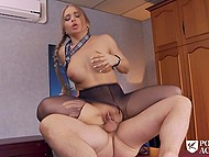 Principal of porn academy is a very handsome man and amazing college girl doesn't mind having sex with him