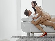 Wonderful girl in red shoes gives partner blowjob and wants to ride hard cock first of all