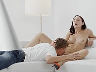 Teen is grateful to man for cunnilingus and takes his cock in mouth to suck it in exchange 8