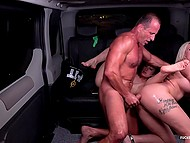 Blonde young women harshly drilled and covered with sperm by driver in the backseat of taxi 10