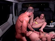 Blonde young women harshly drilled and covered with sperm by driver in the backseat of taxi 8