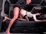 Pale-skinned female receives cock deep down the depths of twat in the backseat of limo