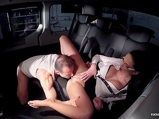 Darkened parking spot is nice place for driver and office lady Any Maax to have hot sex