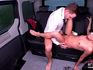 Female is going to be a pornstar so she is practicing pussy penetration in backseat