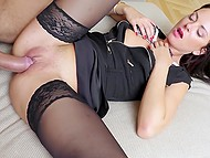 Strange man makes a strong impression on brunette MILF and she spreads legs for him