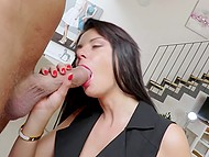 Gallant man gives beautiful MILF flowers and brings home where she gives him blowjob