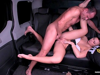 Smooth pussy of Czech girl is so tight that driver fills it with warm cum in ten minutes