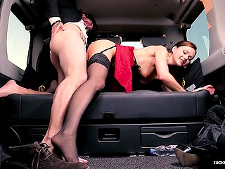 Tina Kay's personal driver gives woman a ride home and stops the car to fuck her well