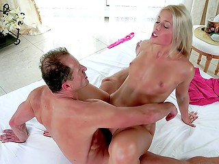 Good pussyfucking is the best way for small-tittied blonde to relax and receive pleasure