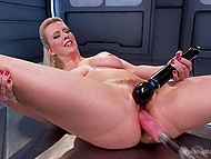 Vibrator combined with fucking machine are tools that drive blonde MILF to satisfaction 11