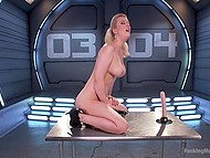 Vibrator combined with fucking machine are tools that drive blonde MILF to satisfaction 6